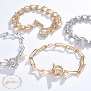 ブレスレット チェーン パール シンプル 太め ごつめ メタル ゴールド シルバー Luxury's ラグリーズ ギフト プレゼント pariskids-net