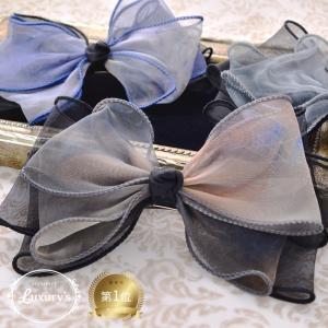 バレッタ りぼん リボン オーガンジー レイヤー ミックス 透け感 結婚式 ヘアアクセサリー 可愛い|pariskids-net