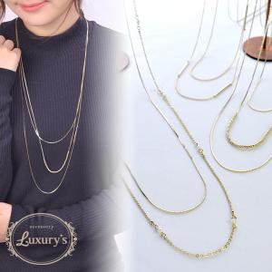 ネックレス 真鍮製 ロングネックレス 華奢 2連 3連 細い スティック パール ビーズ Luxury's ゴールド シンプル|pariskids-net