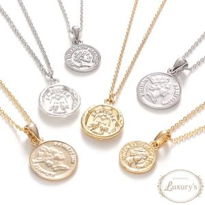 ネックレス コイン メダイ メダル シンプル モチーフ ゴールド シルバー レディース Luxury's ラグリーズ j3s ギフト プレゼント|pariskids-net