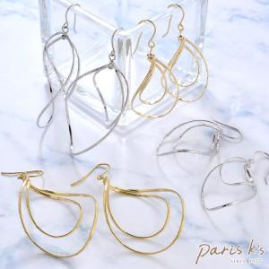 ピアス ニッケルフリー フレーム カーブ ひねり 揺れる Luxury's ゴールド シルバー シンプル 華奢|pariskids-net