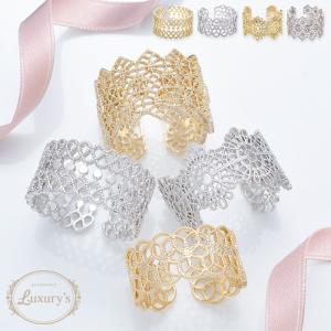 リング 指輪 レース レース風 幅広 上品 繊細 ゴールド シルバー お呼ばれ Luxury's ラグリーズ ギフト プレゼント pariskids-net