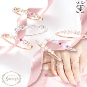 リング 指輪 ジルコニア CZ ハート 華奢 細め 重ねづけ ピンキーリング Luxury's ラグリーズ ギフト プレゼント|pariskids-net