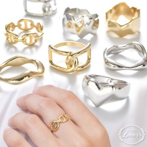 指輪 リング メタル メタリック シンプル ハート 幅広 太め ゴールド シルバー  レディース Luxury's ラグリーズ  ギフト プレゼント pariskids-net