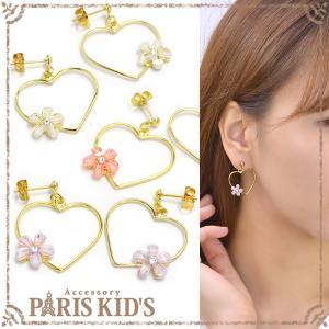 ピアス ハート 花 フラワー フレーム パステル ゴールド ピンク ホワイト パープル j3s|pariskids-net