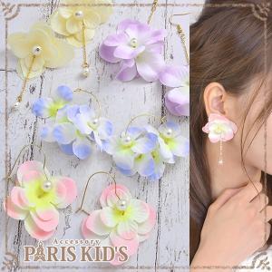 ピアス 造花 フラワー 花 揺れる スウィング チェーン フープピアス ハートフープ フープ パール パステル j3s|pariskids-net