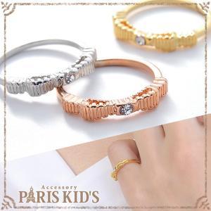 指輪 リング ピンキーリング リボン りぼん ラインストーン ゴールド シルバー ピンクゴールド|pariskids-net