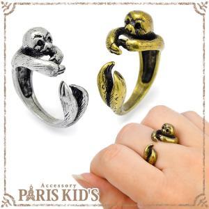 アンティーク カラー 巻きつき ナマケモノ リング 動物 指輪 アニマル 個性的 ゴールド シルバー フリーサイズ|pariskids-net