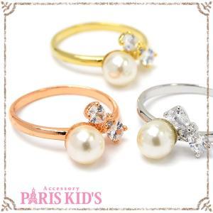 キュービック リボン パール リング 指輪 ゴールド シルバー ピンクゴールド|pariskids-net