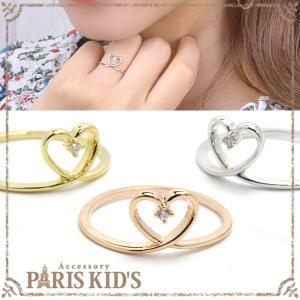 リング 指輪 1粒 ラインストーン ハート フレーム シンプル 9号 11号 ゴールド シルバー ピンクゴールド 可愛い|pariskids-net