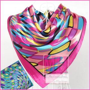 クリックポストで発送可/ジオメトリック 幾何学模様柄スカーフ/大判スカーフ/90×90/セレブ/ピンク/ブルー parismadam