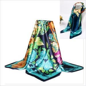 ゆうパケットで発送可 大判スカーフ 花柄 ブルー系 90cm×90cm|parismadam