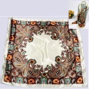 ゆうパケットで発送可 大判スカーフ 花柄 オフホワイト系 90cm×90cm parismadam