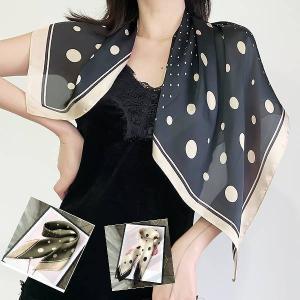 上品 70cm四方 スカーフ 正方形 ドット柄 70cm×70cm エレガンス ゆうパケットで発送可 parismadam