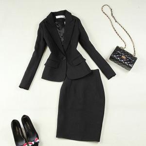 ブラックスーツ ジャケット&スカート セットアップ ブラックフォーマル 通勤 お出掛け 授業参観 S-XL 送料無料|parismadam