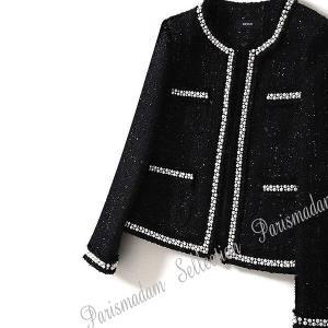 ノーカラージャケット ツイード ブラック パール付き フォーマル 入学式 七五三 パーティー セレモニー 結婚式 小さいサイズ有り XSからXL 送料無料 parismadam