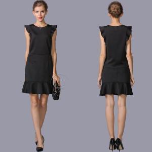 送料無料 フレンチスリーブ ブラック トップス&スカートセットアップ  ツーピース ブラウススカートセット大きいサイズ有|parismadam