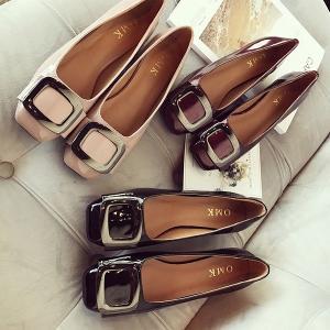 ヒール3cm フラットシューズ パンプス エナメル レディース ぺたんこ ワンポイント スクエア バレエシューズ 靴 婦人靴 22.5cm〜25.5cm parismadam