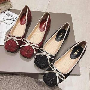 フラットシューズ パンプス スパンコール ラメ リボン スクエア バレエシューズ 靴 婦人靴 22.5cm〜25.5cm parismadam