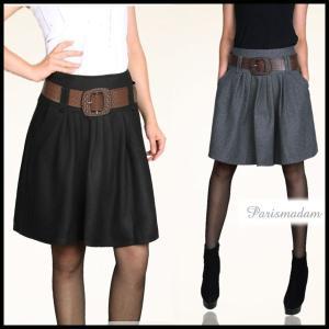 膝丈/フレアースカート/ベルト付き/タック入り/大きいサイズ有り/|parismadam
