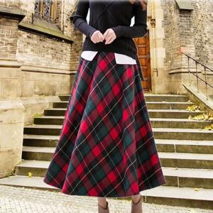 チェックロングフレアースカート/タータンチェック 総丈83cm/レッド系タータンチェック|parismadam