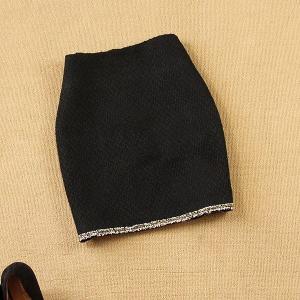 ツィードスカート ミニ丈 タイトスカート ブラック|parismadam