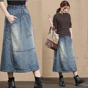 デニムロングスカート マキシ丈 大人スタイル 変形 大きいサイズ有り S〜XXL 送料無料|parismadam