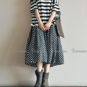 ギャザースカート ドット柄 リネンスカート ミモレ丈 ボリュームたっぷり フリーサイズ ウエストゴム|parismadam