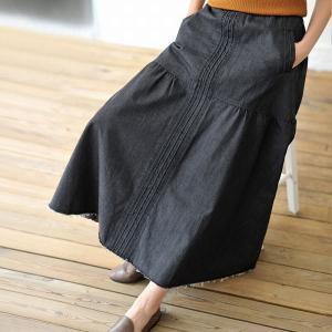 デニムロングスカート ソフトデニム 切りっぱなし 大人スタイル 変形 ウエストゴム デザインスカート ロング M〜XL 送料無料|parismadam