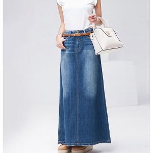 超ロングデニムスカート マキシ丈 総丈90cm ほっそり効果大 大人ロングスカート デニムスカート 送料無料|parismadam