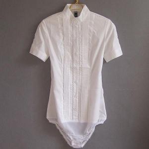 白シャツ 半袖 クロッチ付 ボディシャツ ピンタック レース...