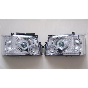 ハイエース 200系 1型2型対応LEDイカリングリング付プロジェクターヘッドライト クリスタル partsaero