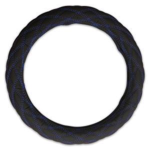 ステアリング カバー 艶無し ブラック PVC レザー LM 41cm 厚み4mm ダイヤカット ブルー ステッチ ダブル キルト SC-LM41-BL|partsaero