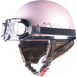 取寄 ハーフタイプ QH-4 Street Alice QH-4 ハーフヘルメット ピンク×フラワー リード工業 ピンク/フラワー 1個|partsdirect