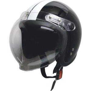 ジェットタイプヘルメット シールド付 ブラック/ホワイト