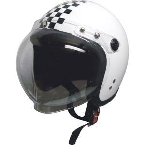 ジェットタイプヘルメット シールド付 ホワイト/チェック
