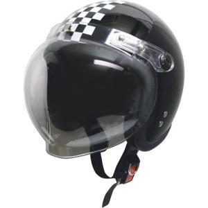 ジェットタイプヘルメット シールド付 ブラック/チェック