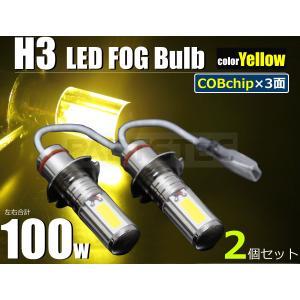 H3 最新COB 3面発光タイプ LED フォグランプ 50W ゴールデンイエロー 黄色 10系アルファード 100系ハイエース スープラ セレナ 他  2個1セット|partstec