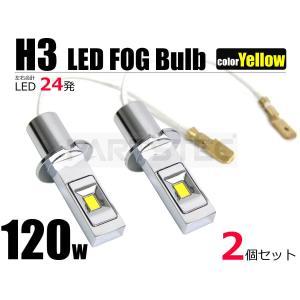 120W H3 LEDフォグ 12V/24V イエロー LEDフォグバルブ LEDフォグランプ 2個セット ジムニー アルファード スープラなど|partstec