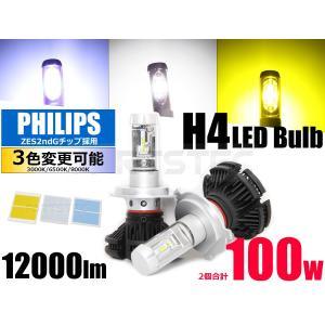 H4 LEDヘッドライト PHILIPS製Chip Hi/Lo切替 100W 12000LMファンレス 2個1セット ホワイト/イエロー/ブルー 10系 アルファード 200系 ハイエース など|partstec