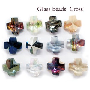 メッキガラス ビーズ (クロス) 1個 ハンドメイド 手作り ガラスパーツ ビーズ バラ クリスタル サンキャッチャー アクセサリー キラキラ|partsworldjp