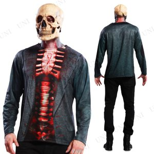 S.L. コスT スケルトン 仮装 衣装 コスプレ ハロウィン 大人 コスチューム メンズ ティーシャツ 大人用 怖い
