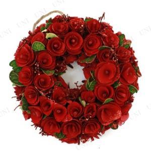 沢山の真っ赤なバラにグリーンリーフが差し色になったクリスマスリースです。ラメが散りばめられており、キ...