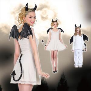 ハロウィン コスプレ 衣装 仮装 コスチューム 悪魔 羽 黒 ブラック 女性用 子供用 「デビルパーツ(ブラック)」|partyparadise
