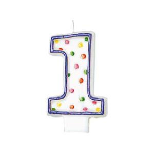 誕生日 ろうそく 「ポルカドット キャンドル 1」 バースデー ローソク 数字|partyparadise