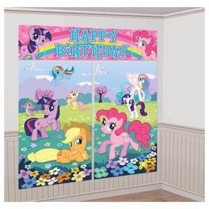 約190x165cm「シーンセッターウォールデコキット マイリトルポニーフレンドシップ」MLP FIM 飾りつけ お誕生日 パーティーデコレーション 壁飾り 空間演出|partyparadise