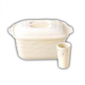 万古焼 ホワイト ミニぬか漬鉢 34-56-04水抜き器 容器 陶器 割引不可|parusu