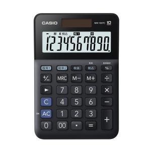 カシオ計算機 W税率電卓 MW-100TCBK-N ミニジャストタイプ ブラック 【5〜12営業日前後出荷予定】|parusu