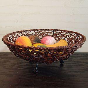 アジアン雑貨 バリ小物入れ:ラタン編みトレイ丸型・Mサイズ...