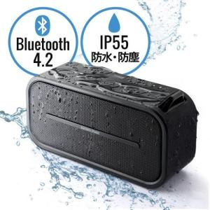 Bluetoothスピーカー ポータブル 防水&防塵対応 Bluetooth4.2 microSD対応 6W ブラック|paso-parts